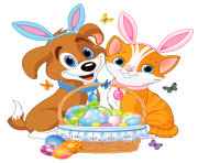 Cute Puppy and Kitten with Easter Bunny Ears and Basket
