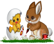 Easter Bunny  and Chicken Clipart Png