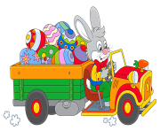 Easter Bunny with Egg Truck PNG Clipart