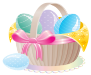 Delicate Basket with Easter Eggs PNG Clipart