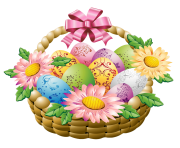 Easter Basket with Easter Eggs and Flowers PNG Picture