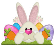 Easter Bunny with Eggs Transparent PNG Clipart