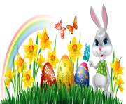 Easter Bunny with Daffodils Eggs and Grass Decor PNG Clipart Picture