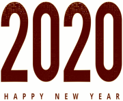2020 Happy New Year Red PNG Clipart