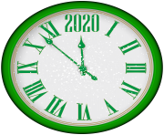 2020 New Year Green Clock PNG Clip Art