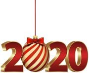2020 with Christmas Ball PNG Clipart