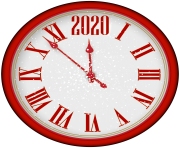 2020 New Year Red Clock PNG Clip Art