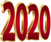 2020 Gold and Red PNG Clipart Image