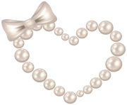 Pearl Heart with Bow Transparent PNG Clip Art Image
