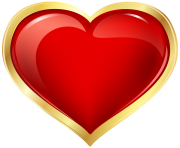 Red and Gold Heart Clip Art Image