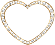 Gold Heart with Diamonds Transparent PNG Image