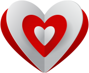Red White Heart PNG Clip Art