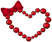 Red Heart with Bow Transparent PNG Clip Art Image