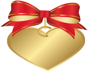 Gold Heart with Red Bow Transparent PNG Clip Art Image
