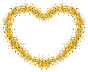 Decorative Gold Heart Transparent Image