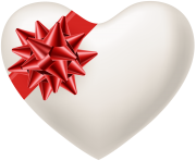 White Heart with Red Bow Transparent PNG Image