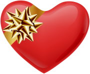 Heart with Gold Bow Transparent PNG Image