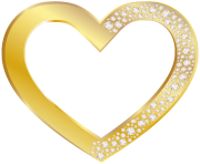 Gold Heart with Diamonds PNG Clip Art Image