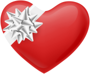 Heart with White Bow Transparent PNG Image