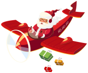 Santa Claus with Plane PNG Clipar