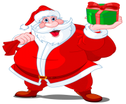 santa claus with green gift