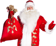 real santa claus happy with a red bag png